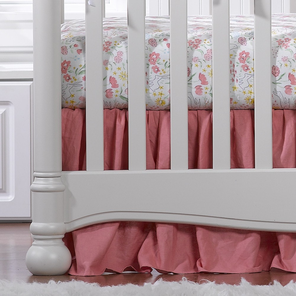 "Nectar Linen Crib Skirt with Soft Ruffle 16"" Drop - liz-and-roo-fine-baby-bedding.myshopify.com"