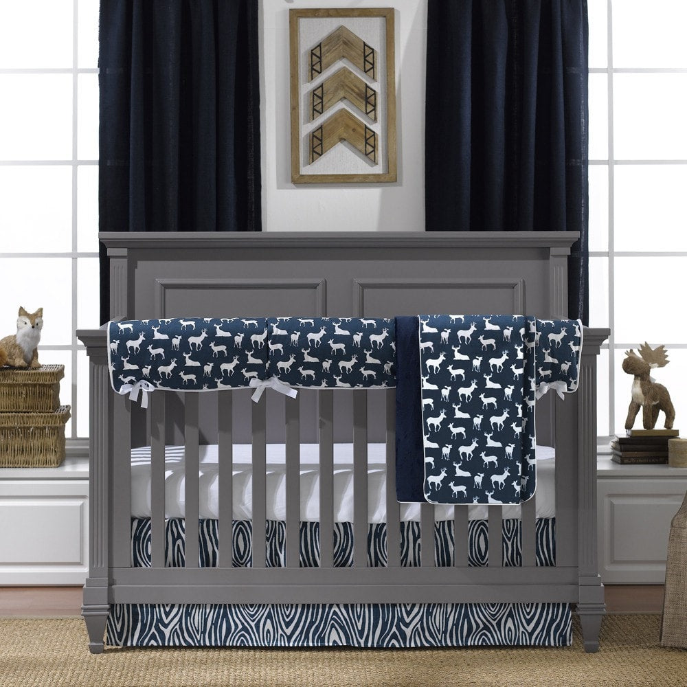 Navy Woodland Crib Bedding (Bumperless) - liz-and-roo-fine-baby-bedding.myshopify.com - 1