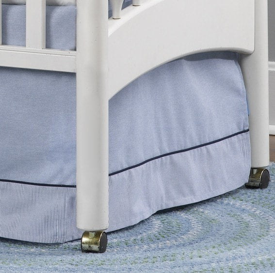 Classic Blue Oxford Crib Skirt with Pin Stripe Trim - Discontinued Fabric/Style - liz-and-roo-fine-baby-bedding.myshopify.com - 1