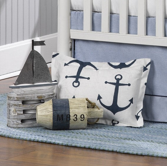 Navy Anchors Baby Pillow Sham - liz-and-roo-fine-baby-bedding.myshopify.com - 1