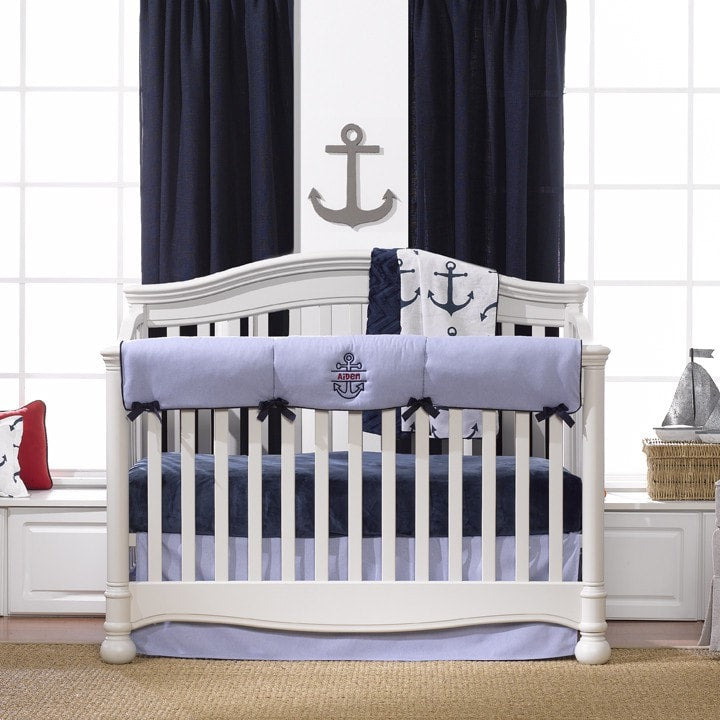 Nautical Crib Bedding (Bumperless) - liz-and-roo-fine-baby-bedding.myshopify.com - 1