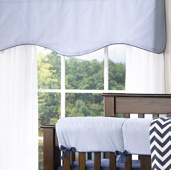 Classic Blue Oxford Window Treatments