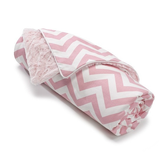 Pink Chevron Minky Receiving Blanket - SOLD OUT - liz-and-roo-fine-baby-bedding.myshopify.com