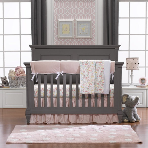 Petal Pink Linens Bumperless Crib Bedding - liz-and-roo-fine-baby-bedding.myshopify.com - 1