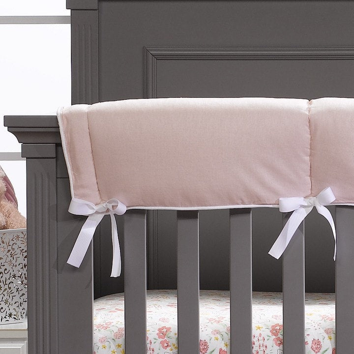 Petal Pink Linen Crib Rail Cover - liz-and-roo-fine-baby-bedding.myshopify.com - 1