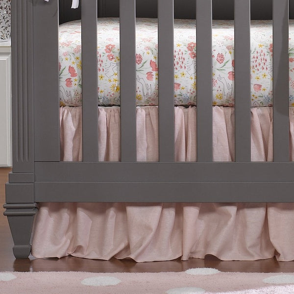 "Petal Pink Linen Crib Skirt with Soft Ruffle 16"" Drop - liz-and-roo-fine-baby-bedding.myshopify.com"