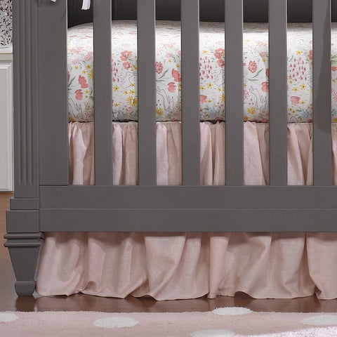 Petal Pink Linen Crib Skirt (Gathered) 16