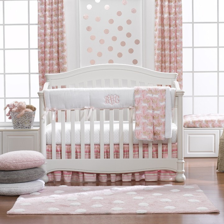Magic Unicorn Forest Bumperless Crib Bedding