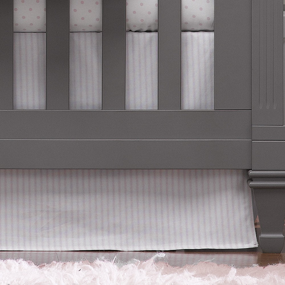 "Pink Ticking Stripe Crib Skirt 17"" Drop - liz-and-roo-fine-baby-bedding.myshopify.com"