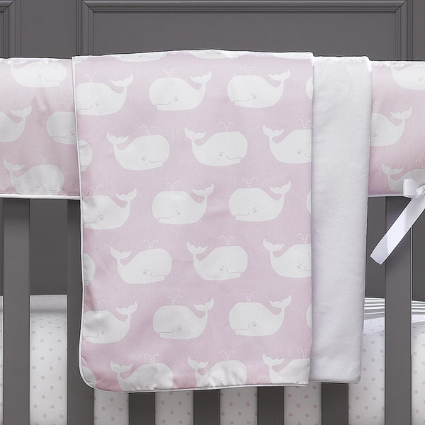 "Pink Whale Tails Oversized Minky Receiving Blanket 53"" x 34"" - liz-and-roo-fine-baby-bedding.myshopify.com"