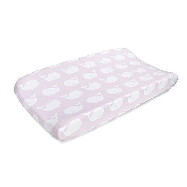 Pink Whales Contoured Changing Pad Cover