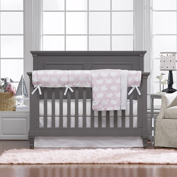 Pink Whale Tails Bumperless Crib Bedding - liz-and-roo-fine-baby-bedding.myshopify.com - 1