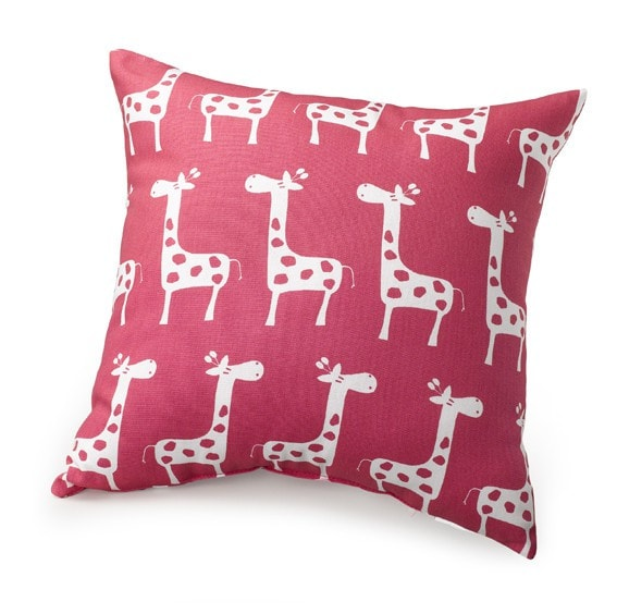 Hot Pink Giraffe Throw Pillows - liz-and-roo-fine-baby-bedding.myshopify.com