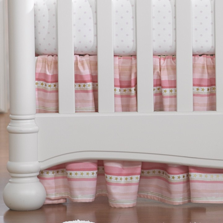 Pink and Gold Gathered Crib Skirt