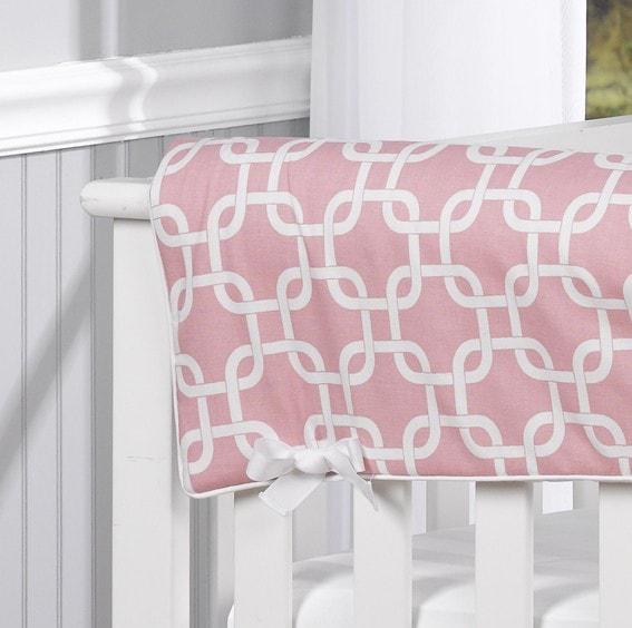 Pink Metro Crib Rail Cover - liz-and-roo-fine-baby-bedding.myshopify.com