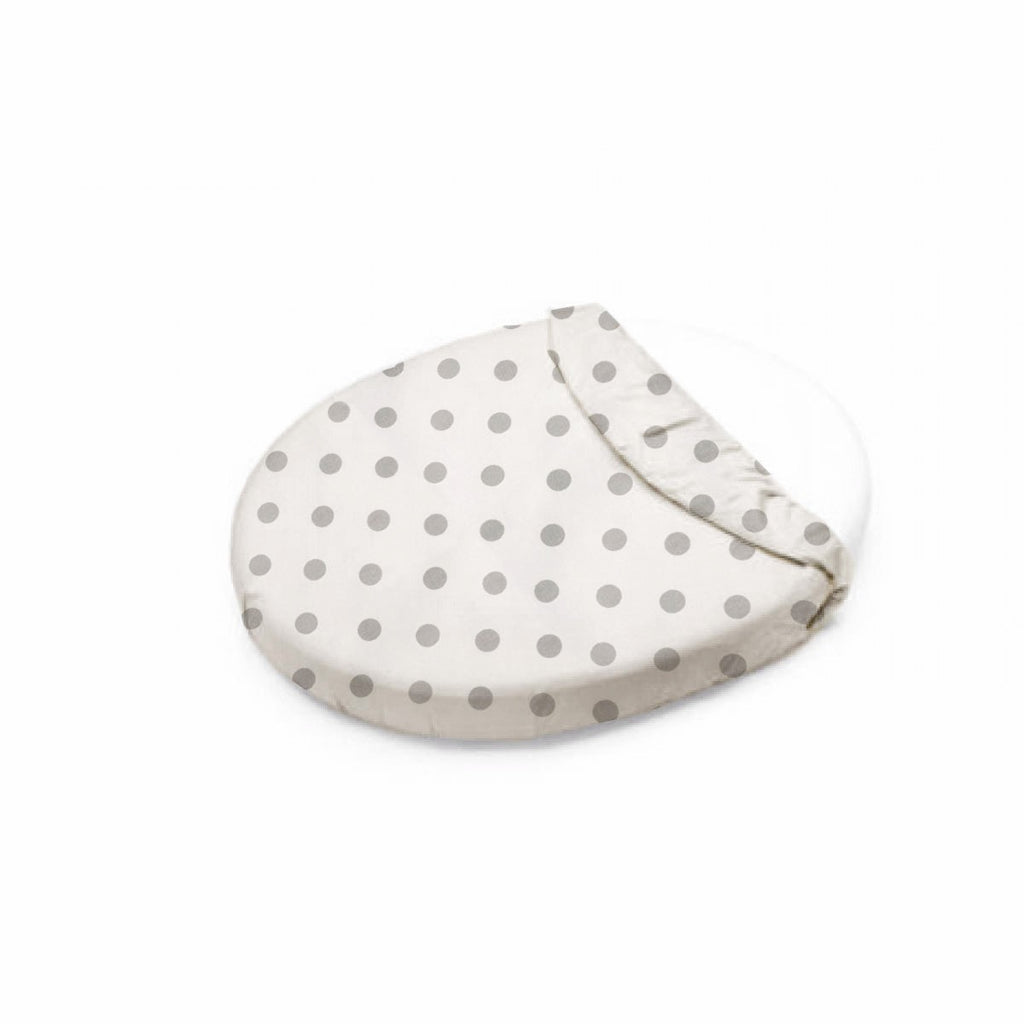 Gray Polka Dots Oval Crib Sheet - liz-and-roo-fine-baby-bedding.myshopify.com - 1