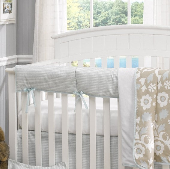 Blue Houndstooth Crib Rail Cover - Discontinued Size - liz-and-roo-fine-baby-bedding.myshopify.com