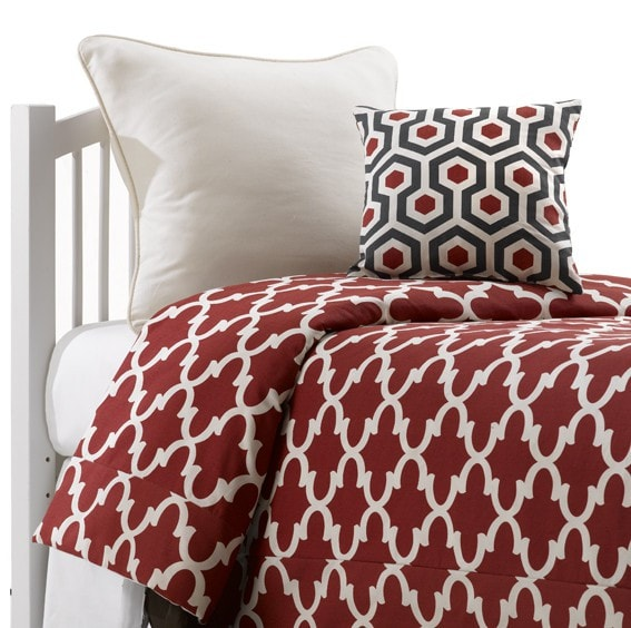 Red Trellis Bedding Set (Twin) - liz-and-roo-fine-baby-bedding.myshopify.com - 1