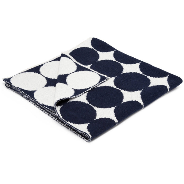 Organic Baby Throw - Polka Dot in Marine Blue - liz-and-roo-fine-baby-bedding.myshopify.com