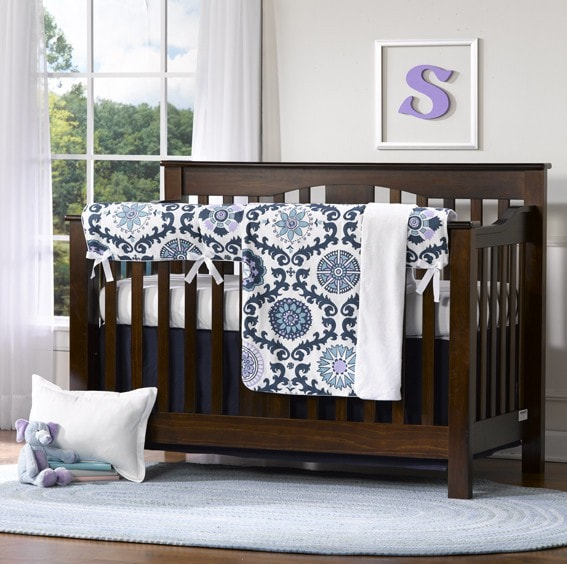 Rosa Bumperless Crib Bedding - liz-and-roo-fine-baby-bedding.myshopify.com