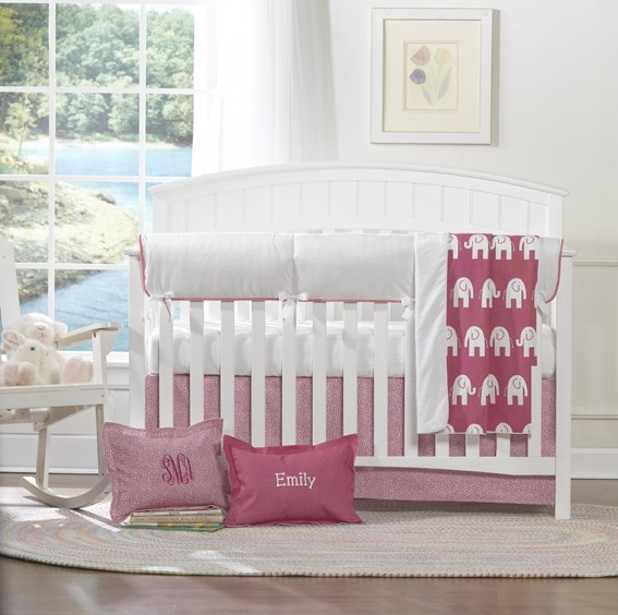Safari (Hot Pink) Bumperless Baby Bedding - liz-and-roo-fine-baby-bedding.myshopify.com
