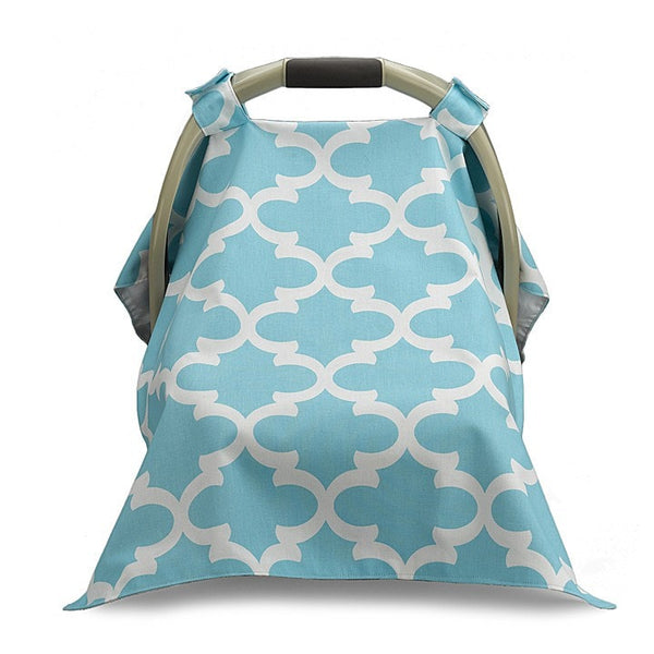 Sky Blue Trellis Carseat Carrier Cover - liz-and-roo-fine-baby-bedding.myshopify.com - 1