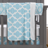Sky Blue Trellis 4-pc. Set - Free Baby Pillow with Purchase - liz-and-roo-fine-baby-bedding.myshopify.com - 2