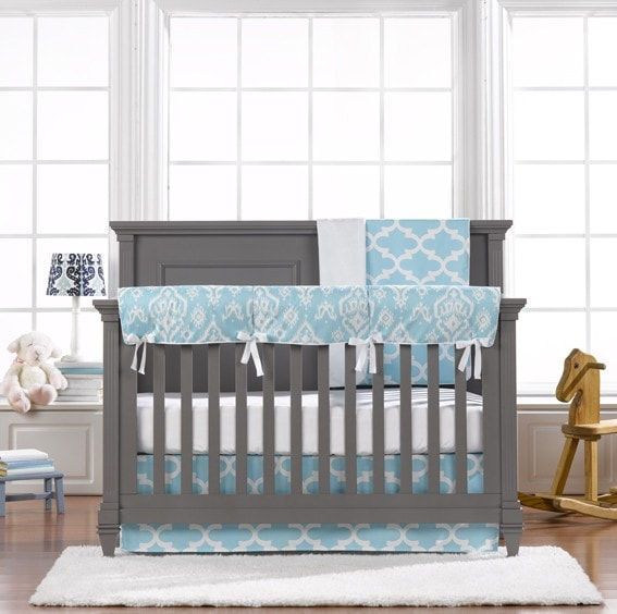 Sky Blue Trellis 4-pc. Set - Free Baby Pillow with Purchase - liz-and-roo-fine-baby-bedding.myshopify.com - 1