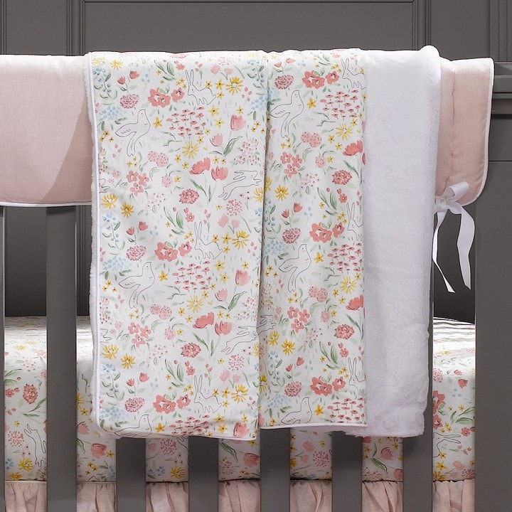 Spring Garden (Multi) Minky Receiving Blanket - liz-and-roo-fine-baby-bedding.myshopify.com