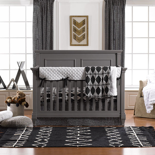 Sundown (Black and White) Bumperless Crib Bedding