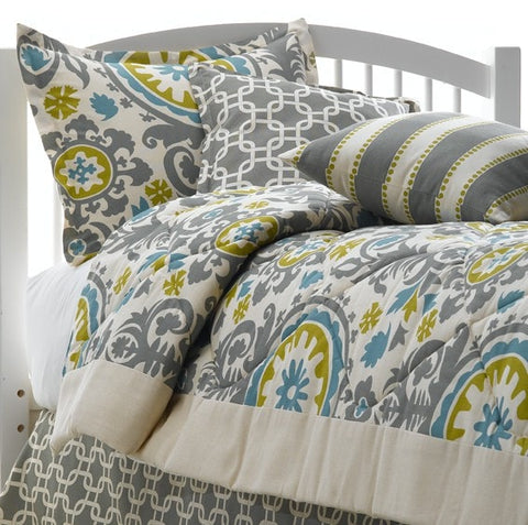 Gray and Natural Suzani Bedding Set (Twin)