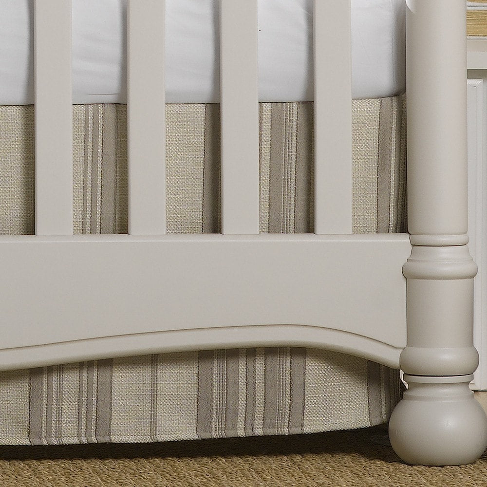 Taupe Toscana Linens Stripe Crib Skirt - liz-and-roo-fine-baby-bedding.myshopify.com