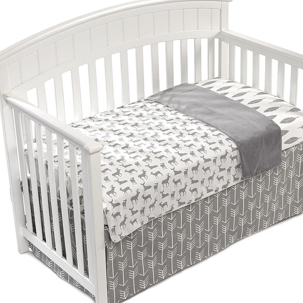 Gray Woodland Deer Oversized Reversible Blanket - liz-and-roo-fine-baby-bedding.myshopify.com