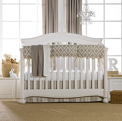 Taupe Toscana Linens Crib Bedding (Bumperless) - liz-and-roo-fine-baby-bedding.myshopify.com