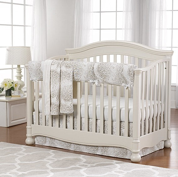 Tristan (Taupe and Gray) Bumperless Crib Bedding - liz-and-roo-fine-baby-bedding.myshopify.com - 1