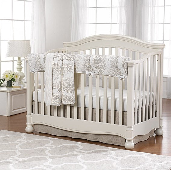Tristan Linens (Taupe and Gray) Bumperless Crib Bedding - liz-and-roo-fine-baby-bedding.myshopify.com - 1