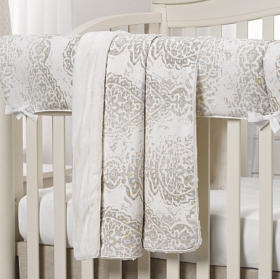 Tristan (Gray and Taupe) Minky Receiving Blanket - liz-and-roo-fine-baby-bedding.myshopify.com