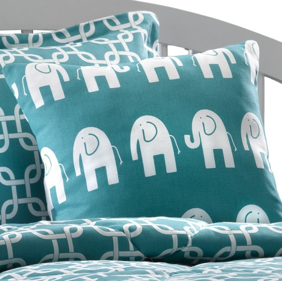 Elephant Pillow in Turquoise and White - liz-and-roo-fine-baby-bedding.myshopify.com