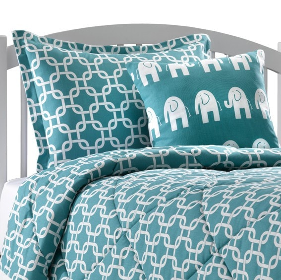 Turquoise Metro Bedding Set (Twin) - liz-and-roo-fine-baby-bedding.myshopify.com - 1