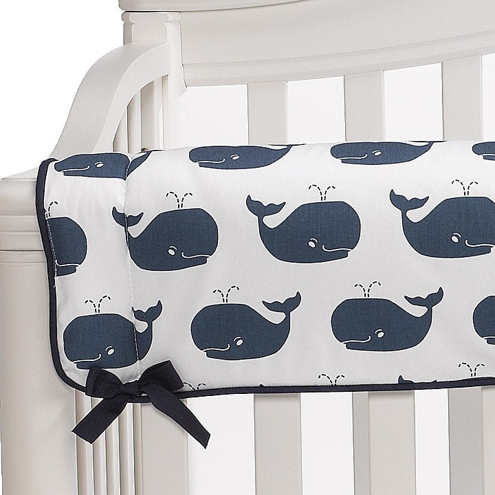 Navy/White Whale Tails Crib Rail Guard - liz-and-roo-fine-baby-bedding.myshopify.com