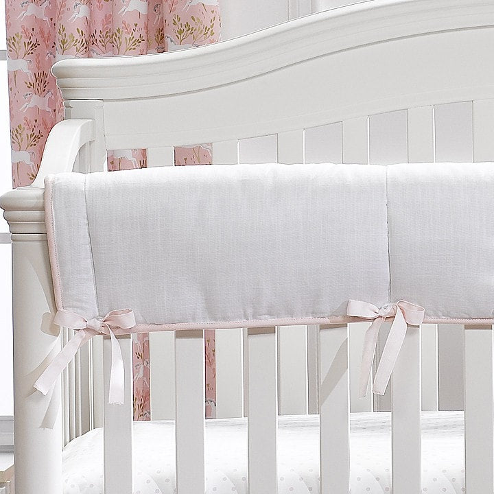 White Woven Crib Rail Cover
