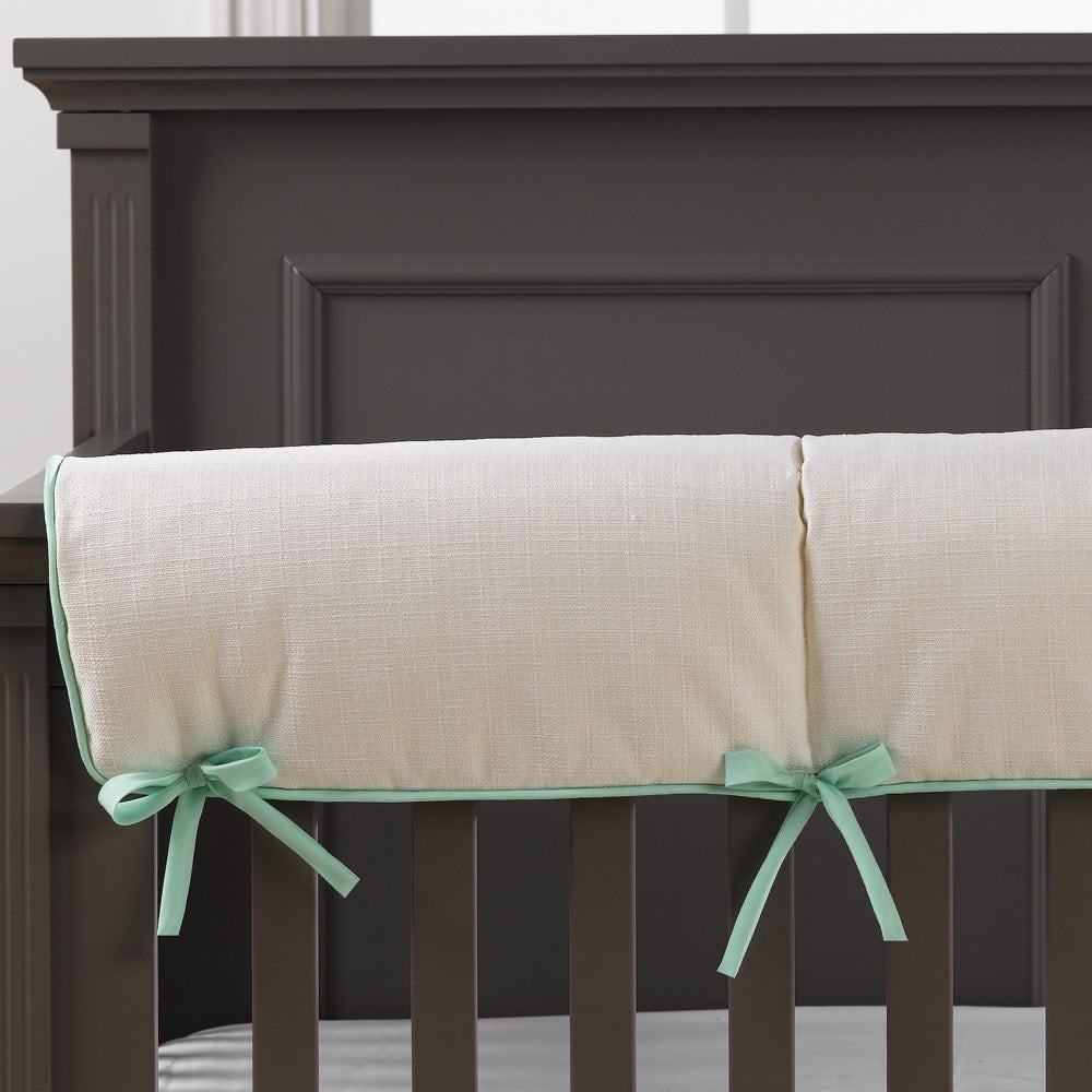 White Weave Crib Rail Cover (Mint Trim) - liz-and-roo-fine-baby-bedding.myshopify.com