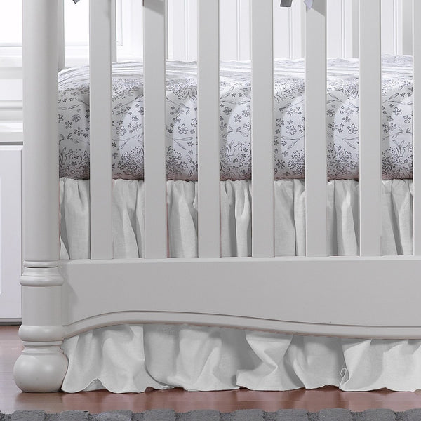 "White Woven Crib Skirt with Soft Ruffle 17"" Drop - liz-and-roo-fine-baby-bedding.myshopify.com"