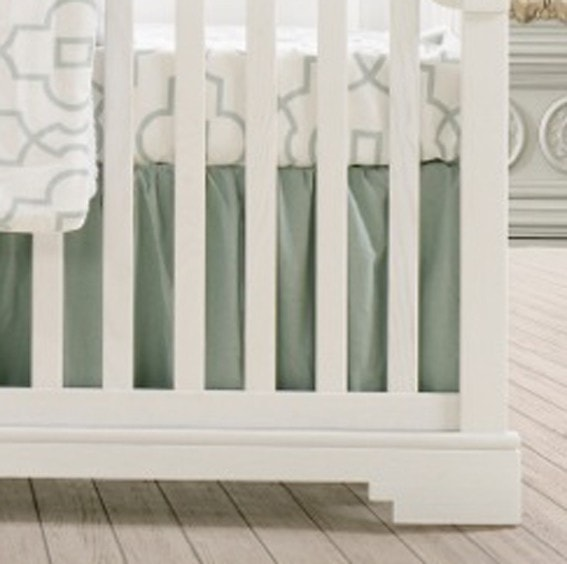 "Willow Linen (Mist) Crib Skirt with Soft Ruffle 16"" Drop - liz-and-roo-fine-baby-bedding.myshopify.com"
