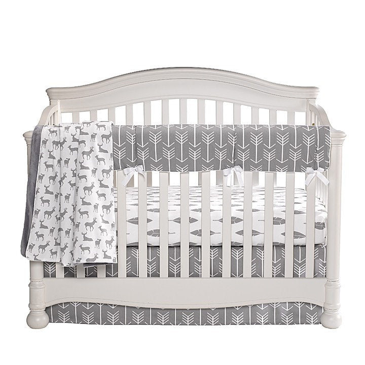 Gray Woodland Bumperless Crib Bedding
