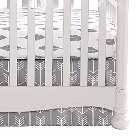 Woodland (White Arrows on Gray) Crib Skirt - liz-and-roo-fine-baby-bedding.myshopify.com