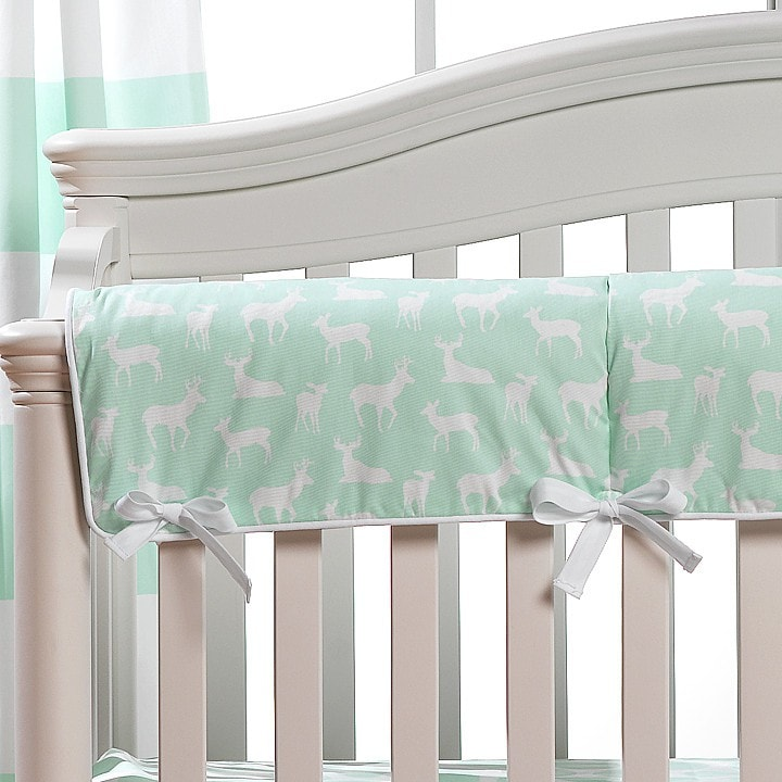 Mint Woodland Crib Rail Cover - liz-and-roo-fine-baby-bedding.myshopify.com - 1