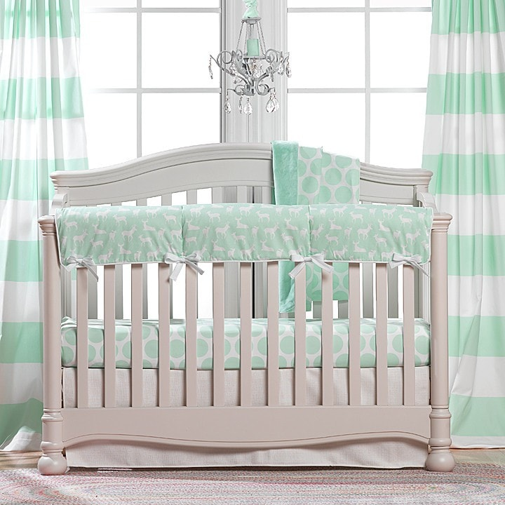 Cabana Stripe Curtains - Mint - liz-and-roo-fine-baby-bedding.myshopify.com
