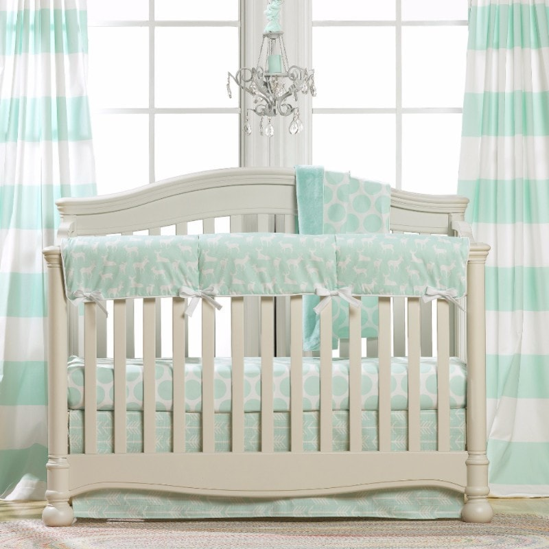 Mint Woodland Crib Bedding (Bumperless) - liz-and-roo-fine-baby-bedding.myshopify.com - 1