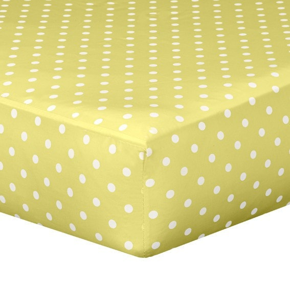 Yellow Polka Dot Crib Sheet - liz-and-roo-fine-baby-bedding.myshopify.com